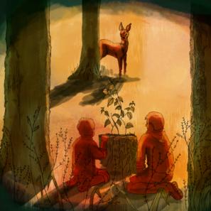 V lese - ilustrace z Příběhu přátelství