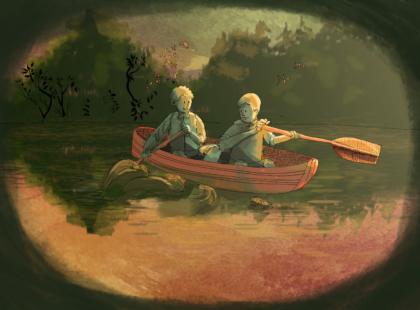 Na řece - ilustrace z příběhu přátelství