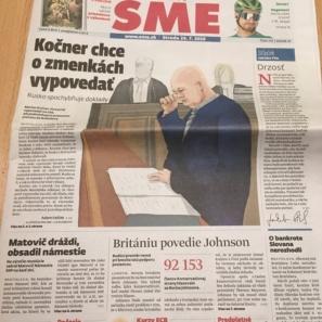 denník SME, titulní strana